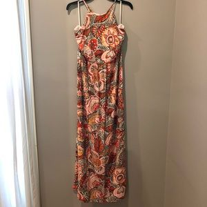 Orange and Green Maxi Dress from LOFT